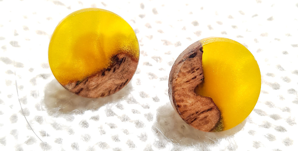 Wood and Resin Small Stud Earrings