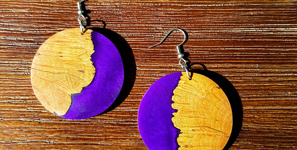 Wood and Resin Large Round Earrings