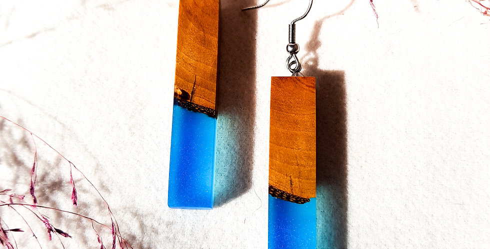 Wood and Resin Stick Earrings