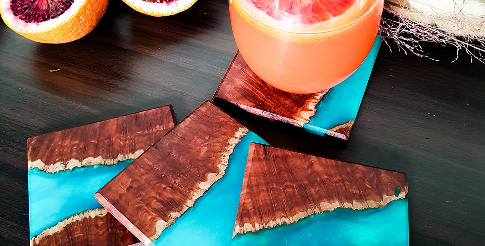 Burl Wood and Resin Coasters 4p
