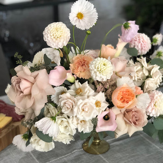 Party ready blooms for a sweet gender reveal party featuring cosmos, juliette garden roses, blush dahlia, and captain melrose calla lilies