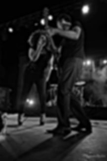 Jj Thames performing with guitarist in Bagnols france 2015
