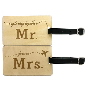 Mr. and Mrs. Wooden Luggage Tags