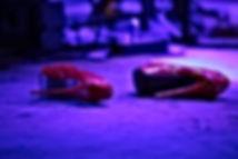 High heel platform shoes left on stage blue lighting