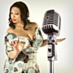 Sassy Jj Thames in front of vintage microphone