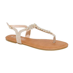 T-Strap Champagne Sandals