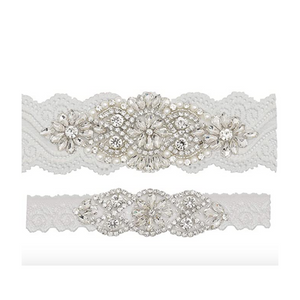 Crystal & Pearl Lace Garter