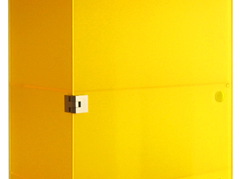 yellow wall-mounted cabinet