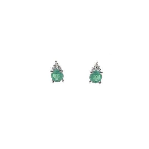 Boucles d'oreilles or blanc 18 carats émeraude et diamant