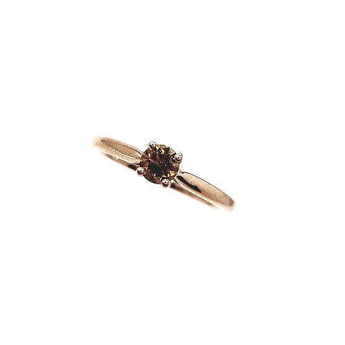 Bague Or rose 18 carats solitaire diamant cognac
