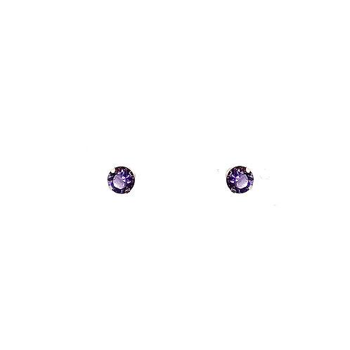 Boucle d'oreille or jaune 18 carats améthyste
