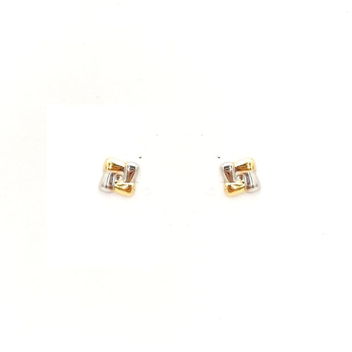 White & yellow gold earrings