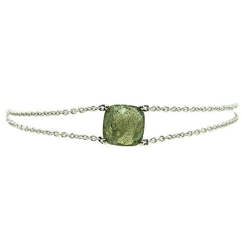 Bracelet or blanc Labradorite