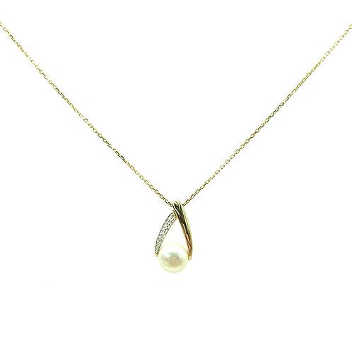 Collier or jaune perle et diamants