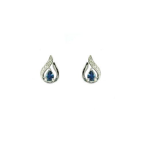 Boucle d'oreille or blanc 18 carats saphir et diamants