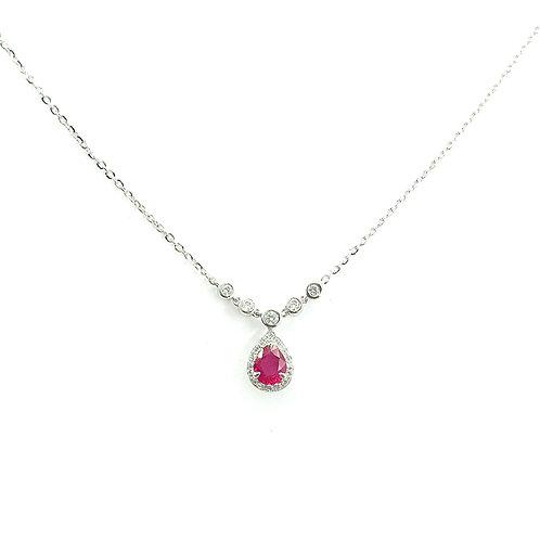 Collier Or blanc 18 carats diamants et rubis