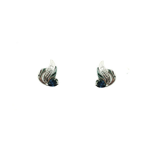 Boucle d'oreille or blanc 18 carats saphir