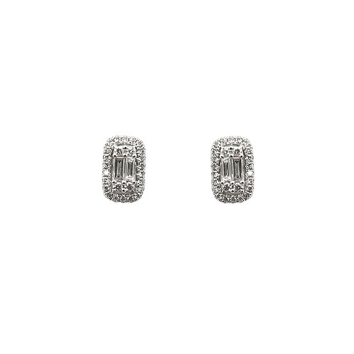 Boucle d'oreille or blanc 18 carats diamants