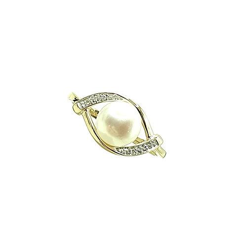 Bague Or jaune 18 carats perle et diamants