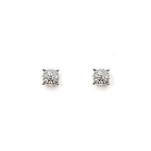 Boucle d'oreille or blanc 18 carats multi - diamants