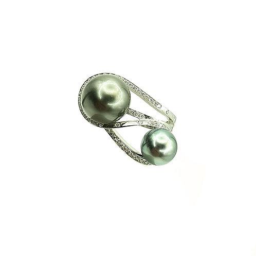 Bague Or blanc perles de Tahiti et diamants