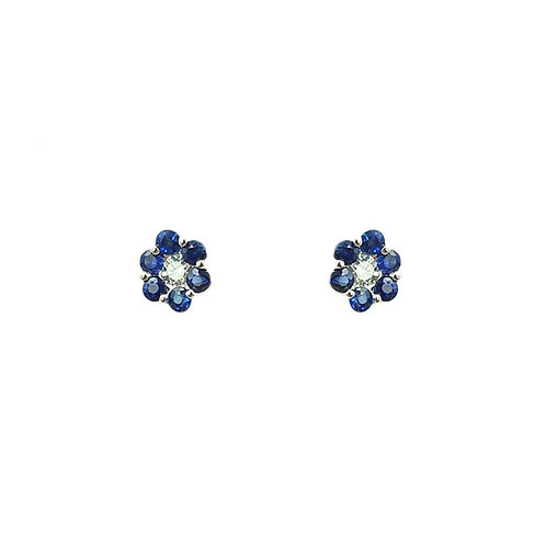 Boucle d'oreille or blanc 18 carats saphirs et diamants