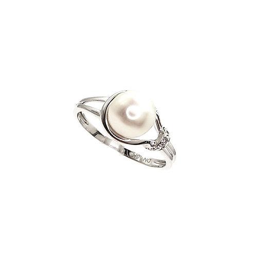 Bague Or blanc 18 carats perle et diamants