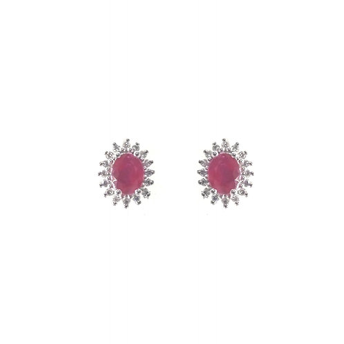 Boucle d'oreille or blanc 18 carats rubis