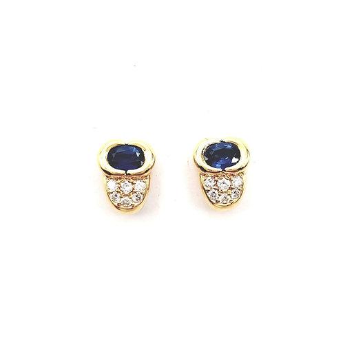 Boucle d'oreille or jaune saphir et diamants