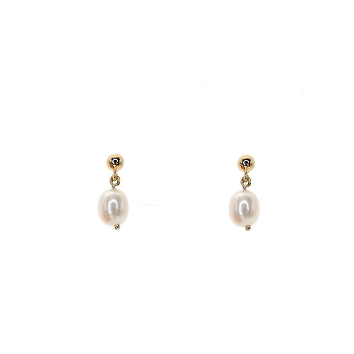 Boucle d'oreille or jaune perles