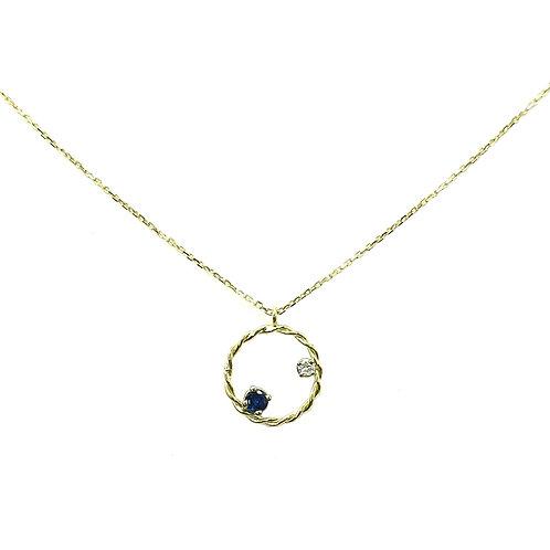 Collier or jaune 18 carats saphir et diamant