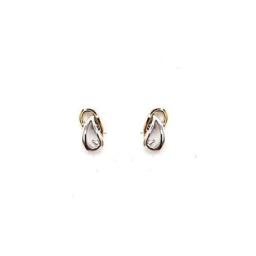 Boucle d'oreille or jaune diamants
