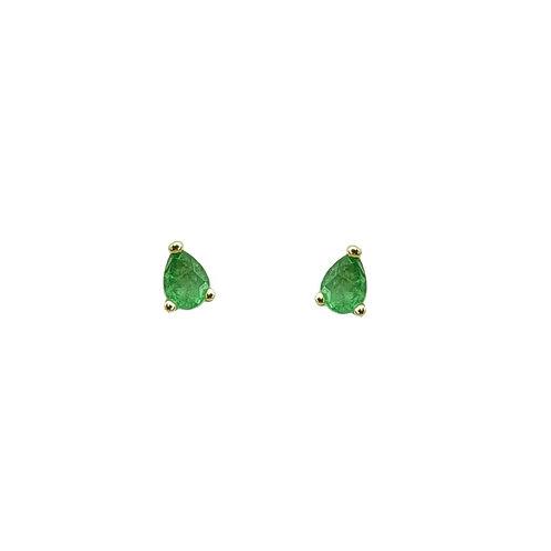 Boucle d'oreille or jaune emeraude