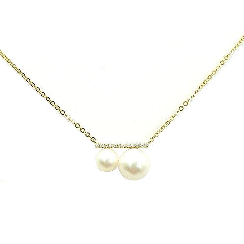 Collier or jaune perles et diamants