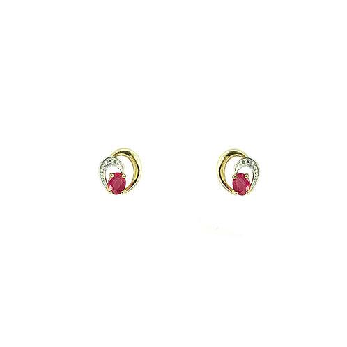 Boucles d'oreilles or blanc et or jaune 18 carats rubis