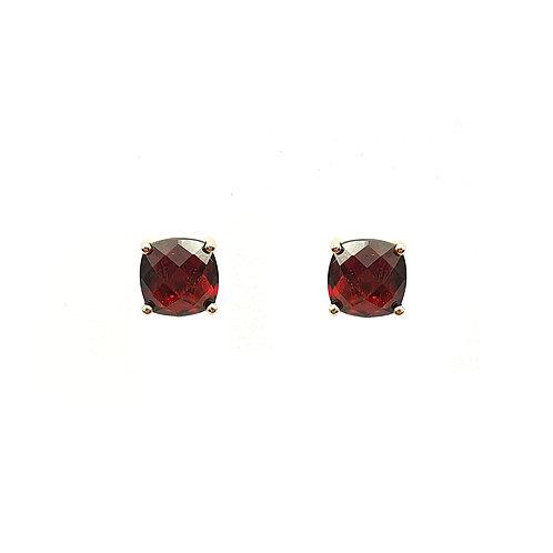 Boucle d'oreille or rose 18 carats grenat