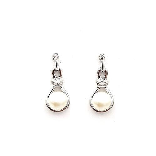 Boucle d'oreille perle sur or blanc 18 carats