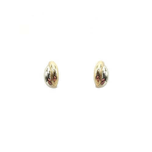 Boucle d'oreille or jaune et or blanc 18 carats