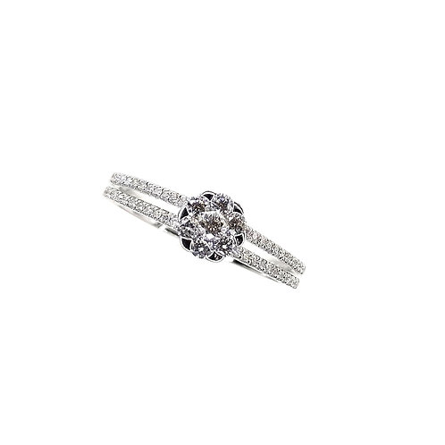 Bague Or blanc 18 carats solitaire multi-diamants