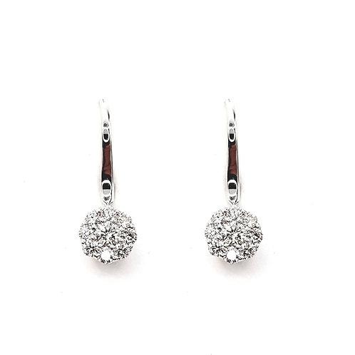 Boucle d'oreille or blanc 18 carats multi-diamants