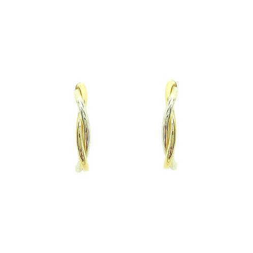 Boucle d'oreille or jaune et or blanc