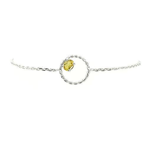 Bracelet or blanc et citrine