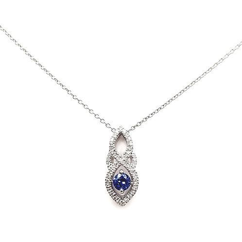 Collier Or blanc 18 carats diamants et saphir