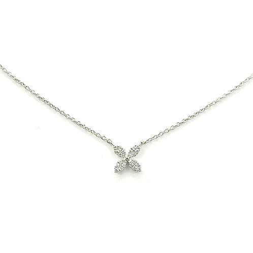 Collier or blanc diamants