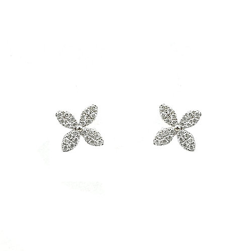 Boucle d'oreille or blanc diamants