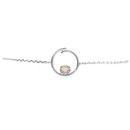 Bracelet or blanc et saphir rose
