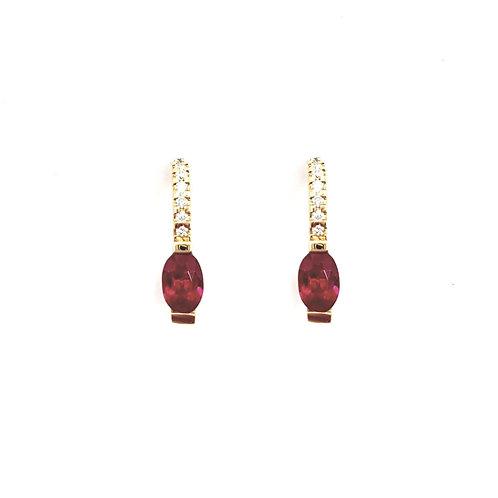 Boucle d'oreille or jaune rubis et diamants