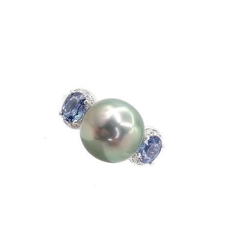 Bague Or blanc Perle de Tahiti, saphir et diamants
