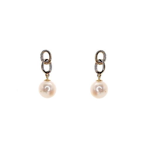 Boucle d'oreille or jaune diamants et perles