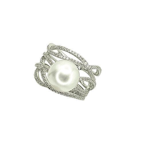 Bague Or blanc perle d'Australie et diamants